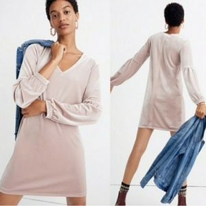 NWT Madewell blush velvet dress XS